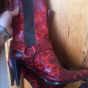 Vintage leather mid calf boots